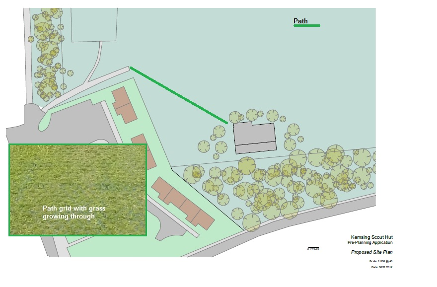 Proposed Site Plan showing path